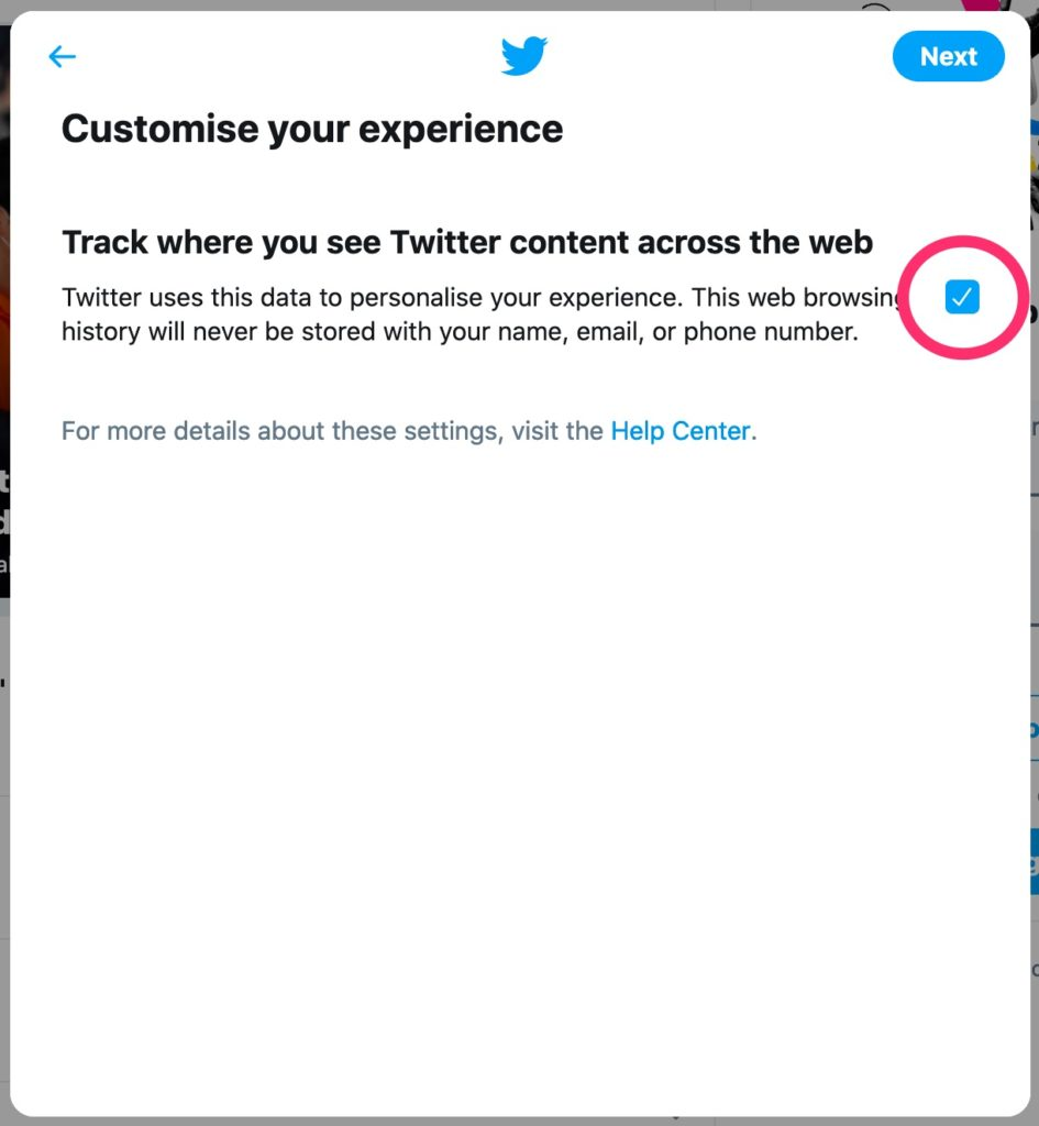 Twitter Sign Up - Tracking
