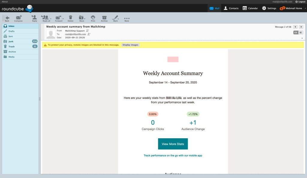 Roundcube webmail access bundled with website hosting